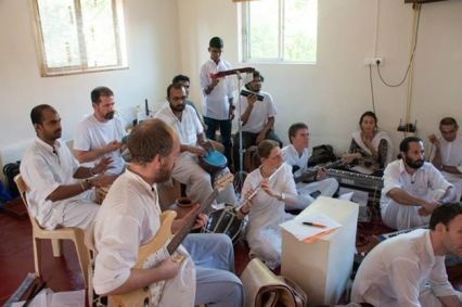 Musicians practicing for play