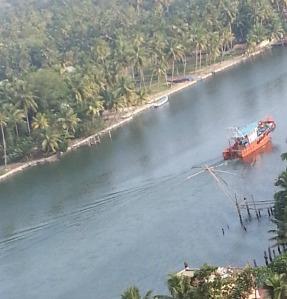 Fishing boat in backwaters