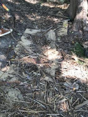 debris on top of burlap bags